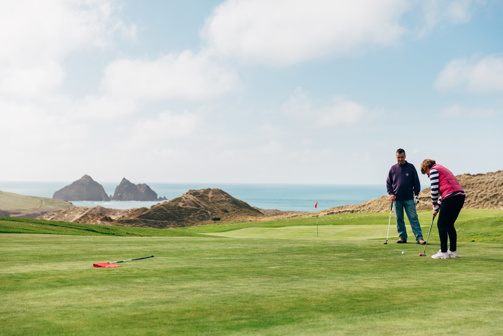 Holywell Bay golf course looking over Gull Rocks