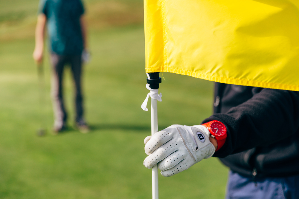 Yellow Golf Flag at Holywell Bay Golf